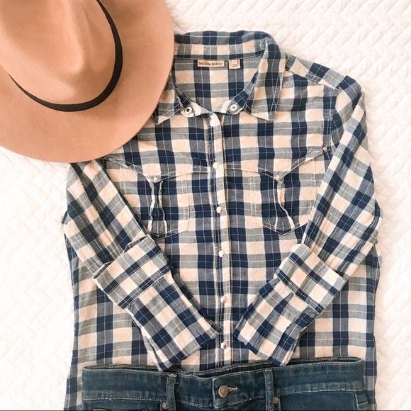 9c81cd68e90e1d Anthropologie Tops - Holding Horses Larita Blue Plaid Button Down Shirt